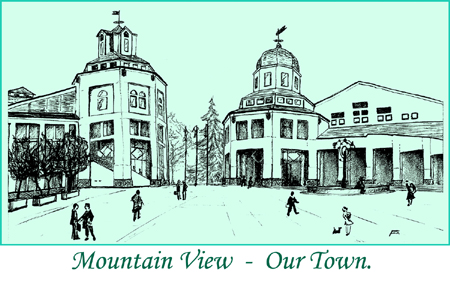 Mountain view City Hall - drawing by francis rolland - real estate specialist